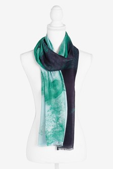 Blue Ombre Print Scarf