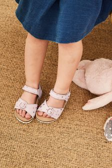 Pink Leather Standard Fit (F) Buckle Sandals (Younger)