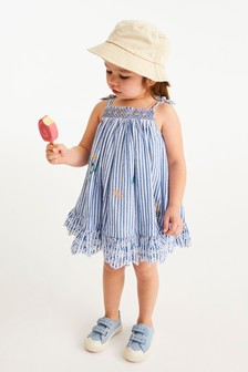 Blue Stripe Embroidered Tiered Dress (3mths-7yrs)