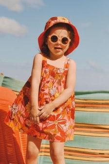 Orange Retro Printed Organic Cotton Sundress (3mths-7yrs)