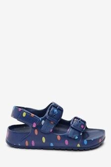 Navy Spot Beach Sandals (Younger)