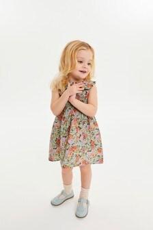 Aqua Ditsy Shirred Cotton Collar Dress (3mths-7yrs)