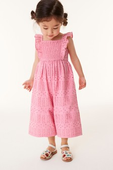 Pink Cotton Broderie Jumpsuit (3mths-7yrs)