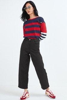 Black Coated Wide Leg Crop Jeans