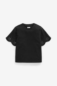 Black Broderie Angel Sleeve Top (3-16yrs)