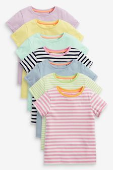 Multi 7 Pack Solid/Stripe T-Shirts (3-16yrs)
