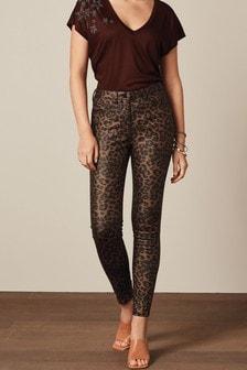 Bronze Animal Print Coated Skinny Jeans