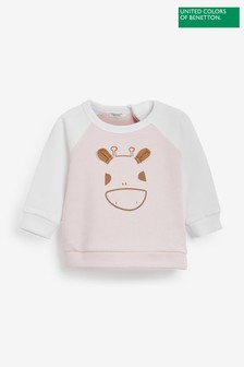 Benetton Pink Giraffe Long Sleeve T-Shirt