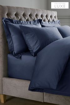 Navy 300 Thread Count 100% Cotton Sateen Collection Luxe Duvet Cover and PIllowcase Set