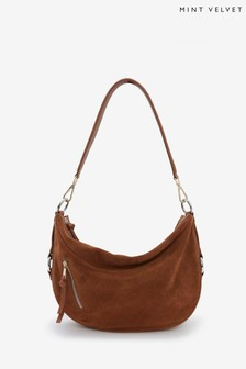 Mint Velvet Harriet Tan Suede Shoulder Bag