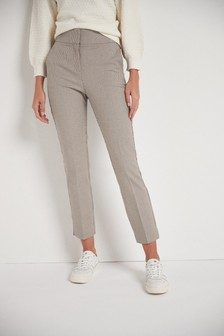 Neutral Check Shaping Trousers