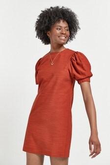 Rust Puff Sleeve Dress