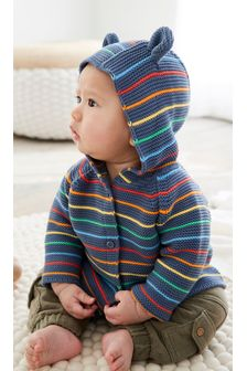 Navy Cotton Rainbow Stripe Cardigan (0mths-2yrs)