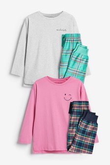 Teal/Pink 2 Pack Peached Jersey Top With Woven Bottom Pyjamas (3-16yrs)