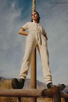 AllSaints Cream Kayla Cotton Jumpsuit