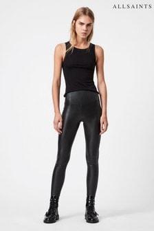 AllSaints Black Cora Faux Leather Leggings