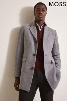 Moss London Slim Fit Light Grey Overcoat