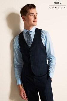 Moss London Slim Fit Blue Overcheck Waistcoat
