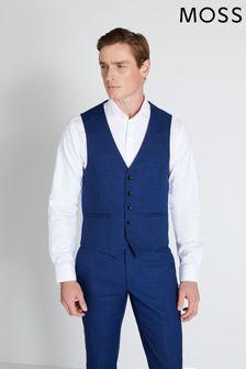Moss London Slim Fit Blue Slub Waistcoat