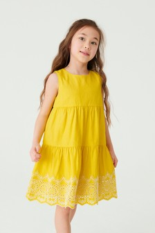 Yellow Broderie Tiered Dress (3-16yrs)