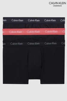 Calvin Klein Black Cotton Stretch Low Rise Trunks 3 Pack