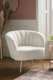 Soft Cosy Boucle Ivory Stella Accent Chair With Gold Finish Legs