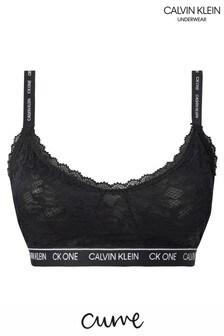 Calvin Klein Black CK One Lace Curve Triangle Bralette