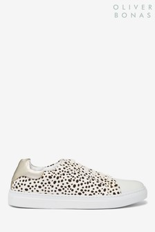 Oliver Bonas Cream Spotty Dotty Animal Print Leather Trainers