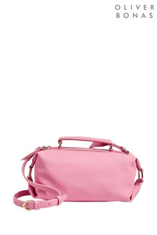 Oliver Bonas Pink Naha Pink Bowler Cross Body Bag