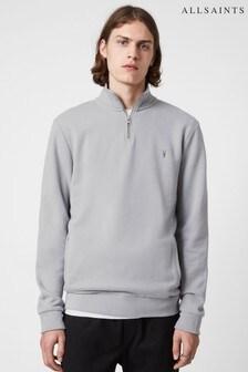 AllSaints Grey Raven Half Zip Sweater