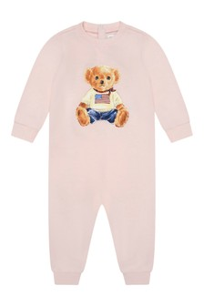 Baby Girls Pink Bear Coverall