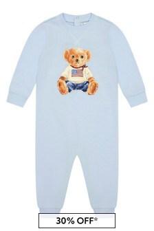Baby Boys Blue Cotton Bear Coverall