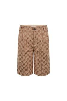 Boys Beige GG Canvas Bermuda Shorts