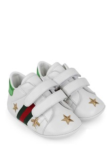 GUCCI Kids White Leather Ace Pre Walker Trainers
