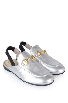 Metallic Silver Princetown Slip-On Loafers