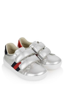 GUCCI Kids Leather Velcro Strap Trainers