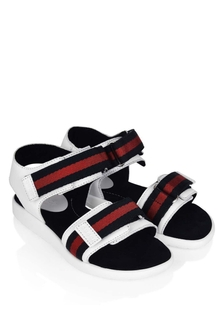 Boys White Sandals With Navy Straps