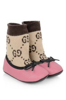 Baby Girls Pink/Beige Sock Shoes