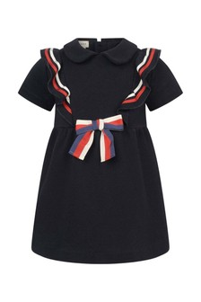 GUCCI Kids Baby Girls Navy Ruffle Web Bow Dress