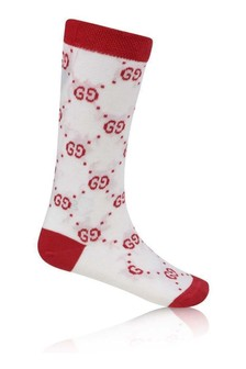 White/Red GG Cotton Socks