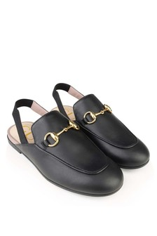 Black Leather Princetown Slippers