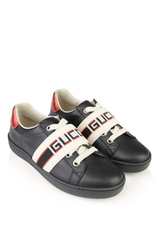 Black Black Leather Ace Trainers