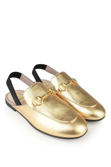 Gold Leather Princetown Slippers