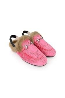 Girls Pink Velvet Princetown Slippers