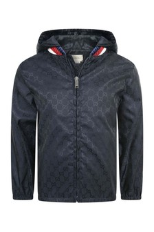 Boys Navy GG Windbreaker With Hood