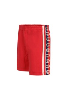 Baby Boys Red Cotton Logo Shorts
