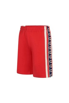 Boys Red Cotton Jersey Shorts
