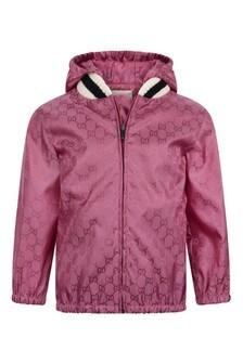 Baby Girls Pink Nylon GG Jacket
