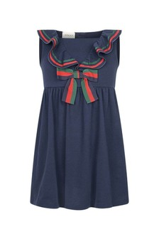 Navy Cotton Pique Dress