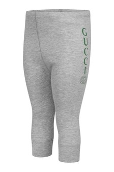 Grey Cotton Logo Leggings
